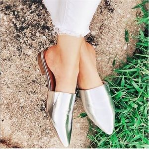 A New Day Silver Metallic Pointed Toe Mules